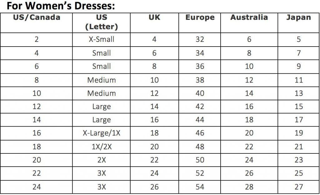Womens Dress Sizes in Japan